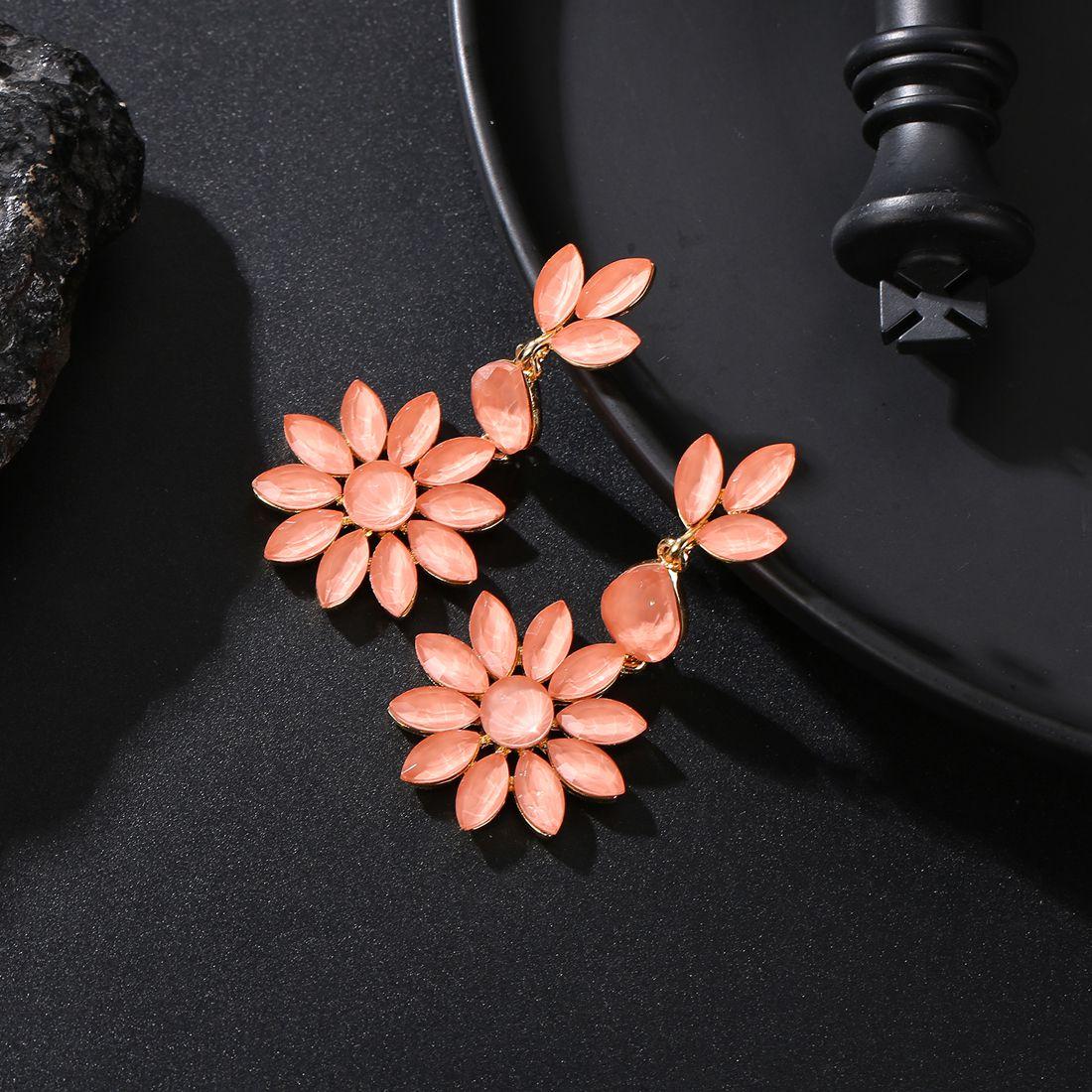 Jewels Galaxy Elegant Crystal Floral Design Swanky Drop Earrings For Women/Girls
