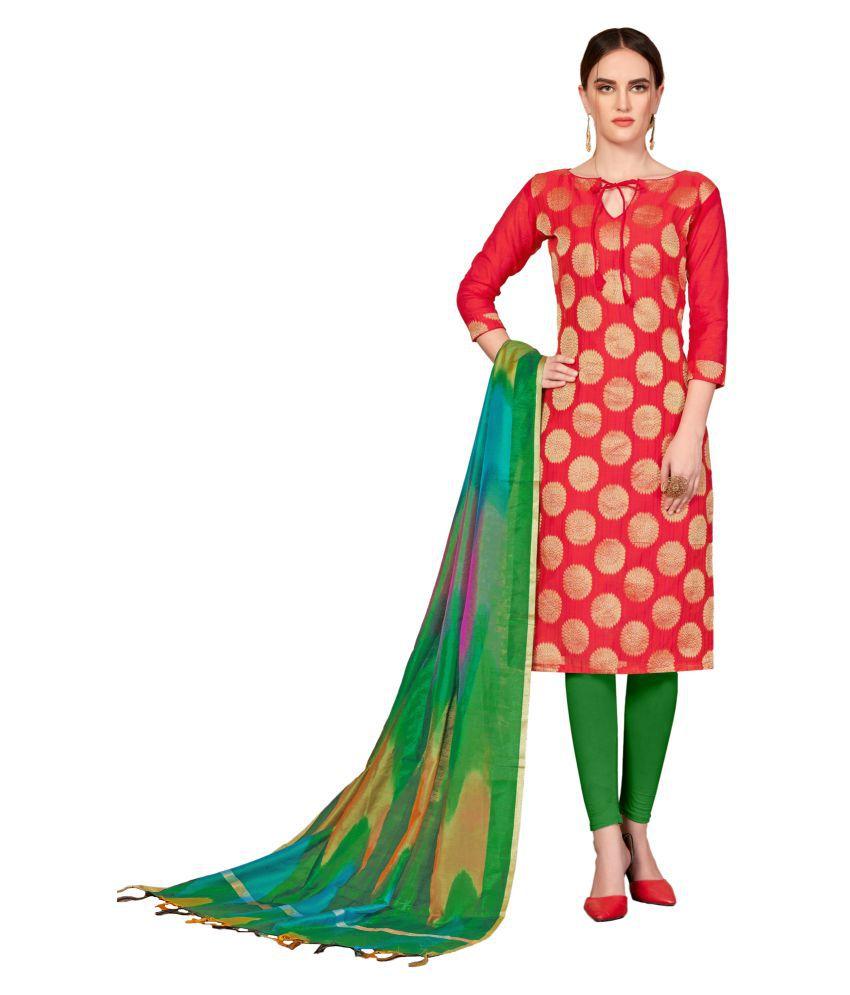 Maroosh Red Banarasi Silk Straight Semi-Stitched Suit
