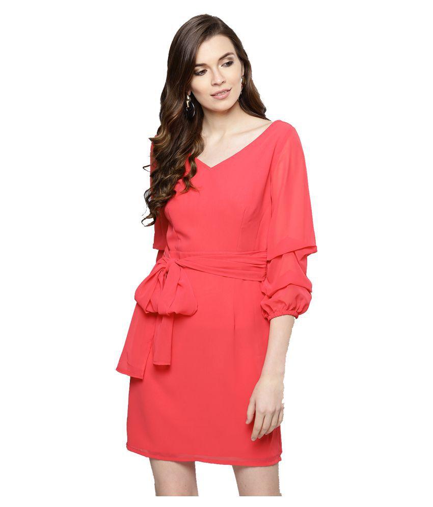 Besiva Polyester Pink A- line Dress