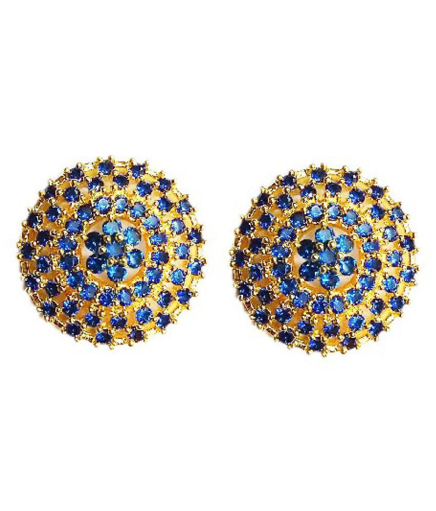 Vinayak royal cluster Iolite Stone Stud Earring