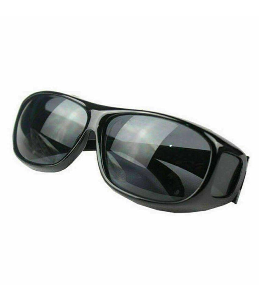 Unisex HD Night Vision Driving Sunglasses Over Wrap Around Glasses ( Black ) Set Of 1