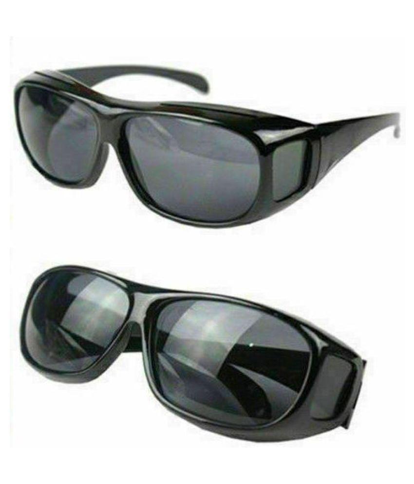 Unisex HD Night Vision Driving Men Women Sunglasses Over Wrap Around Glasses ( Black ) Set Of 2
