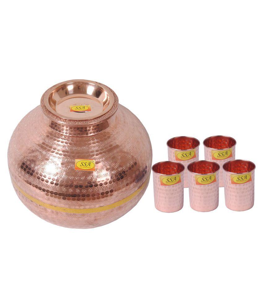 Shiv Shakti Arts Matka With 5 Glass 6 Pcs Lemon set