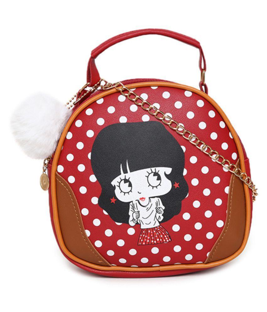 Aliado Red Synthetic Casual Messenger Bag