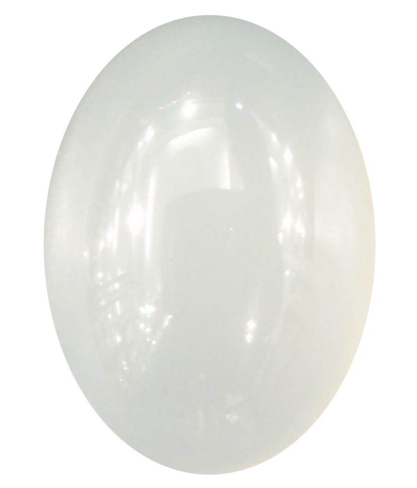 Tejvij And Sons 9.25 -Ratti Self certified White Moonstone Semi-precious Gemstone