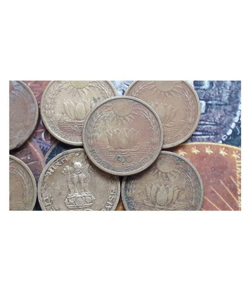 10 COINS LOT - SUN LOTUS - 20 Paise (FAO) 1970 Commemorative: FAO - World Food Day- Food for all Nickel-brass – 4.5 g – ø 22 mm - CIRCULATED CONDITION - INDIA