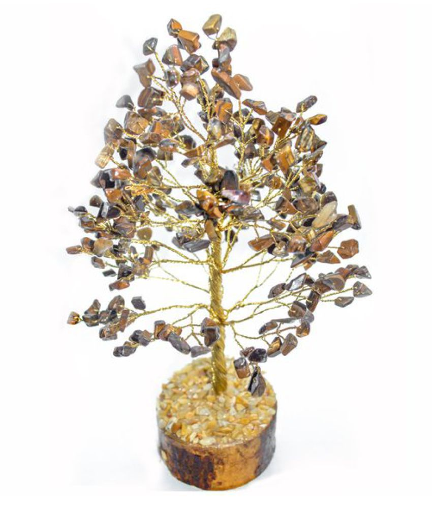 9 Inches Yellow and Brown Tiger Eye Natural Agate Stone Tree