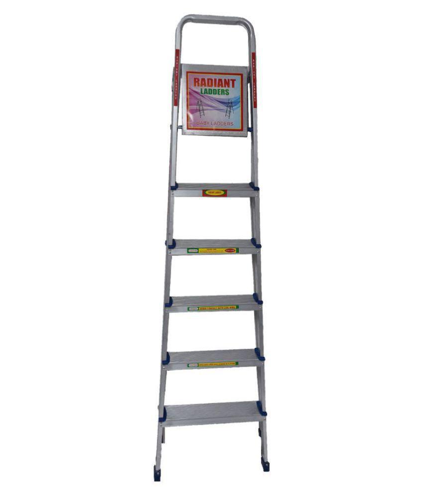 Radiant Aluminium Ladder 5 155kg ( 5 steps + 1Platform)Jindal Aluminium  Folding Ladder with Aluminium Hinges