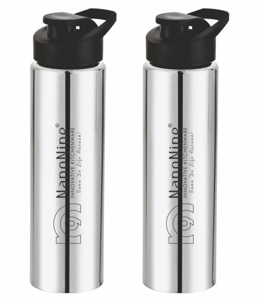 NanoNine Fit Steel Silver 800 mL Steel Fridge Bottle set of 2