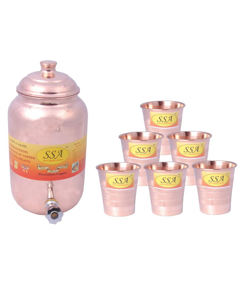 Shiv Shakti Arts 1 Pot & 6Glass Combo 6 Pcs Lemon set