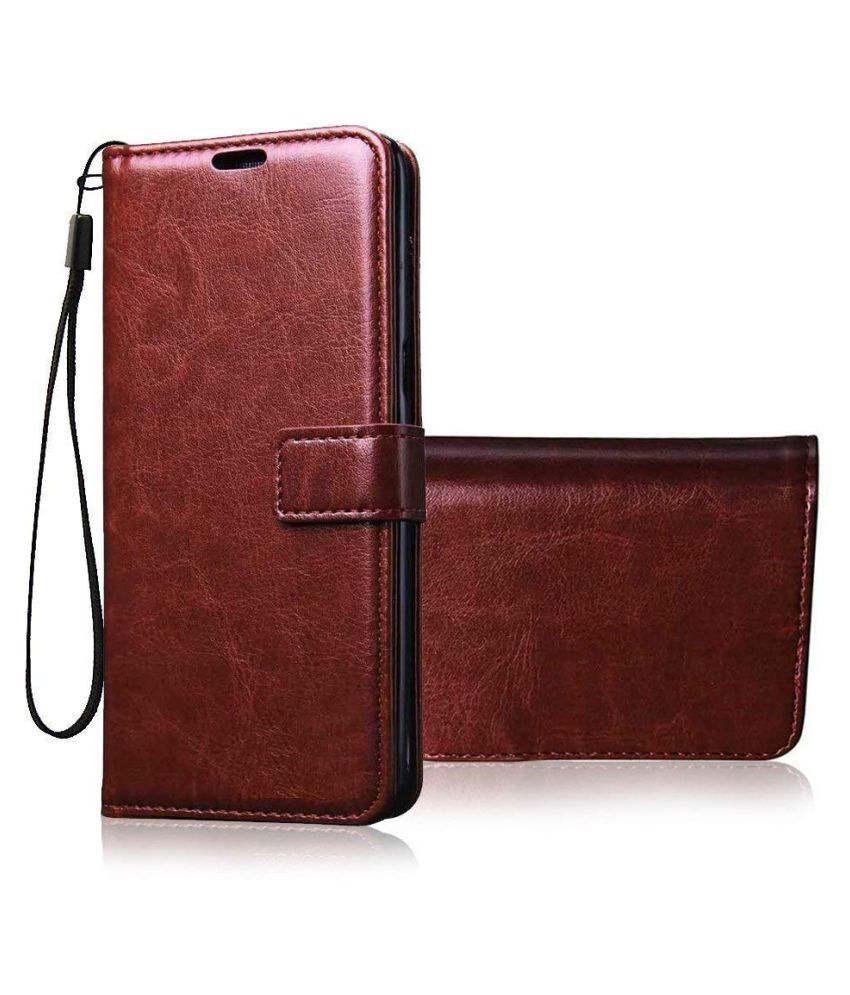 Xiaomi Redmi Note 6 Pro Flip Cover by Mobilive - Brown Vintage Flip Wallet Case Card Holder & Media Stand