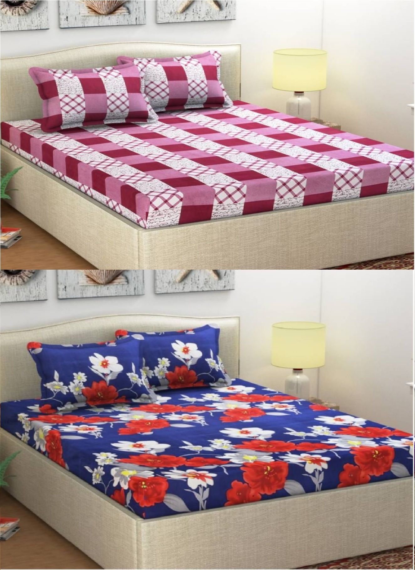OMKARESHWAR INTERNATIONAL Microfibre 2 Double Bedsheets with 4 Pillow Covers