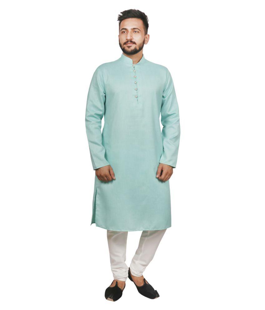 SG LEEMAN Green Cotton Kurta Pyjama Set