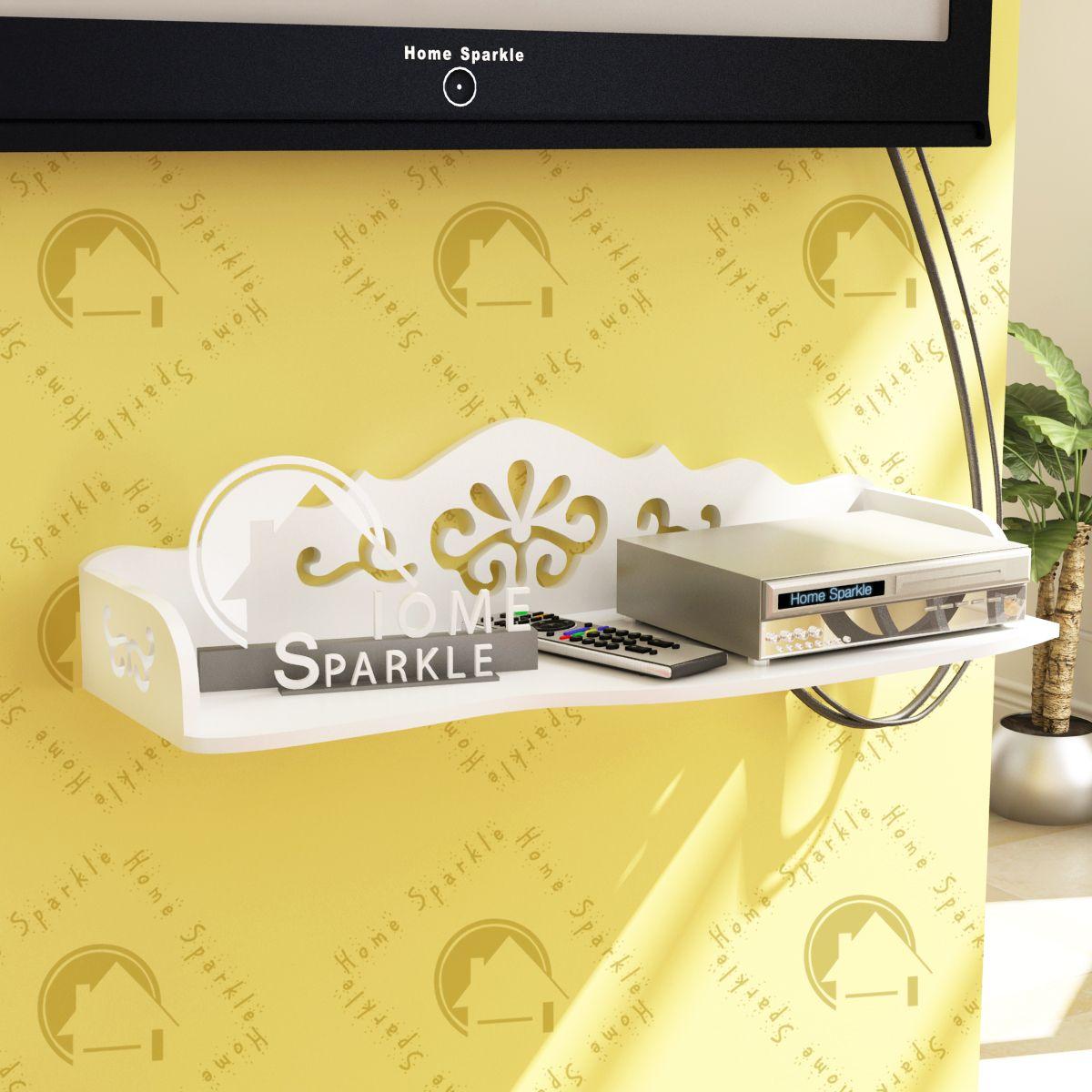 Home Sparkle Carved Set Top Box Holder/Wifi Modem Stand, Suitable For Living Room/ Bedroom ( Designed By Craftsman)