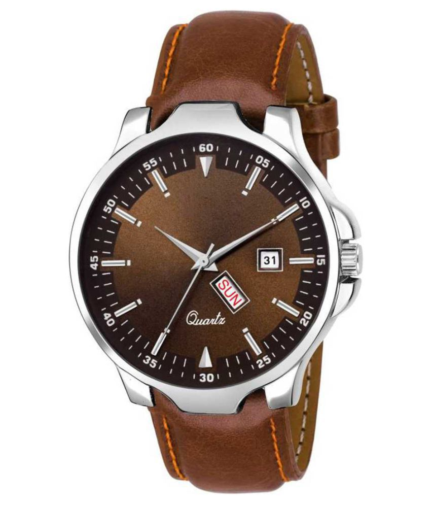 newmen 2066 Day and Date Leather Analog Men's Watch