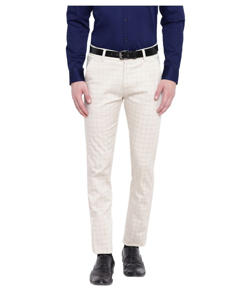 Hancock Beige Slim -Fit Flat Trousers