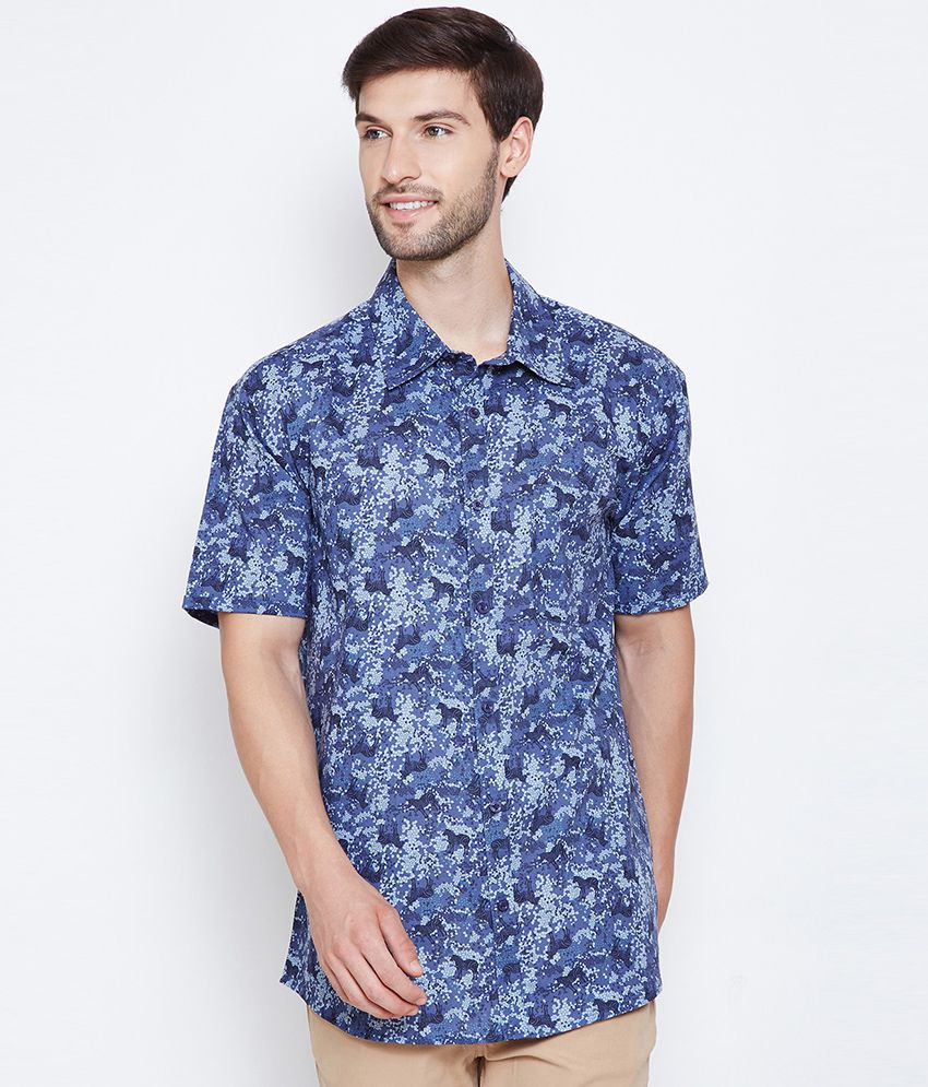 Oxolloxo 100 Percent Cotton Blue Prints Shirt