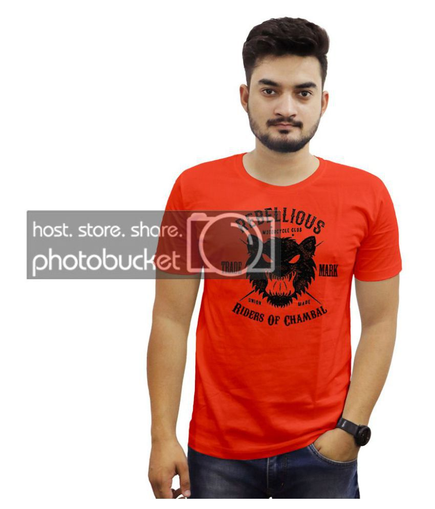 THE CHAMBAL 100 Percent Cotton Red Printed T-Shirt