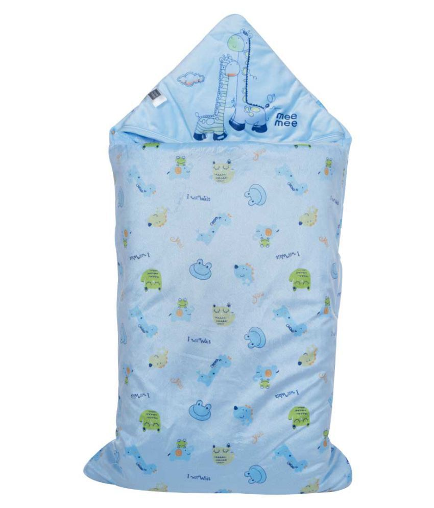 Mee Mee Blue Cotton Baby Wrap cum blanket ( 38 cm × 5 cm - 1 pcs)