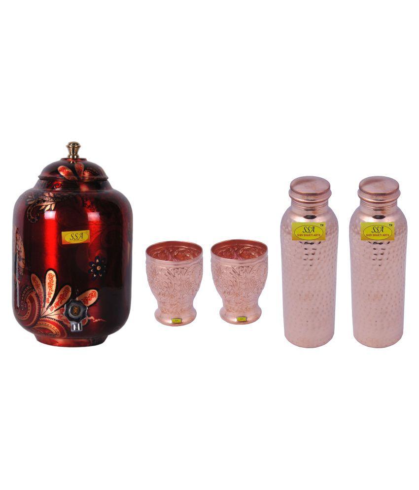 Shiv Shakti Arts Copper Drinkware Set 5 Pcs Lemon set