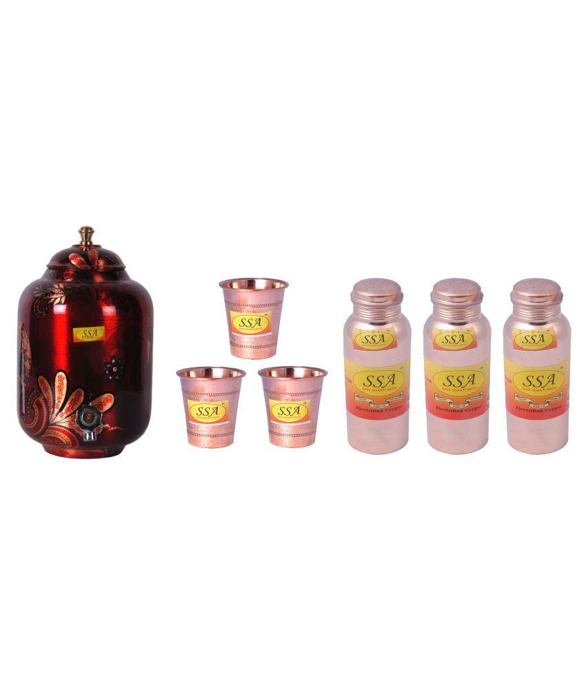 Shiv Shakti Arts Copper Drinkware Set 7 Pcs Lemon set
