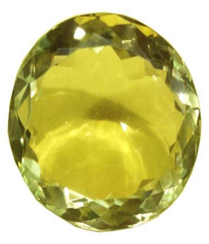 Tejvij And Sons 12.25 -Ratti Self certified Yellow Citrine Semi-precious Gemstone