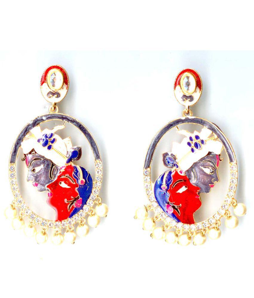 Purple Cherry Vrindavan Collection Radha Krishna design Handcrafted and Hand Painted Gold Plated Meenakari Kundan Pearls Earrings for Women/Girls