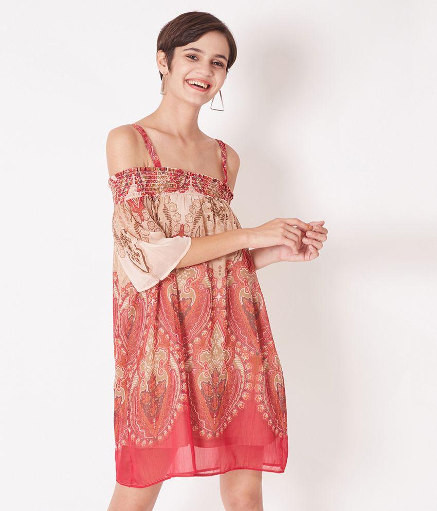 Oxolloxo Polyester Multi Color Skater Dress