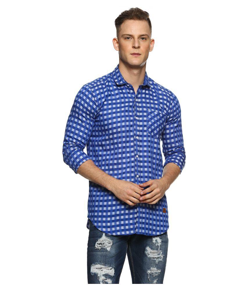 Campus Sutra 100 Percent Cotton Blue Checks Shirt