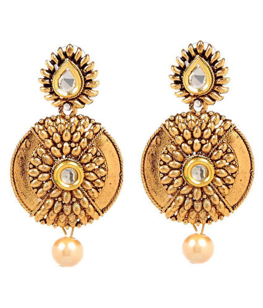 GoldNera Goldplated Kundan Sun Alloy Drop Earrings