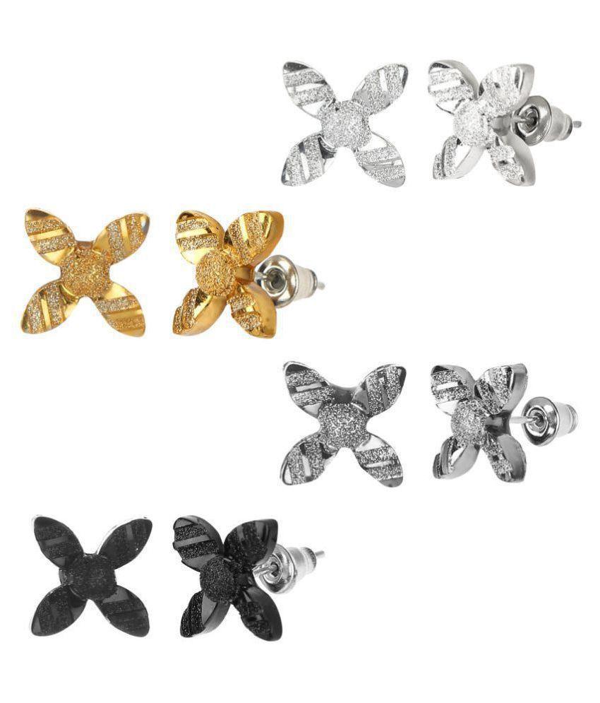 GoldNera Set of 4 Flower Petal Design Chinese Stud Earrings in Glittering Acrylic