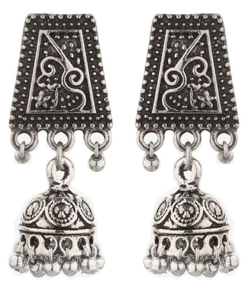 GoldNera Silver Jewellery Antique Artificial Jhumka Earrings Small Size For Girls/Women