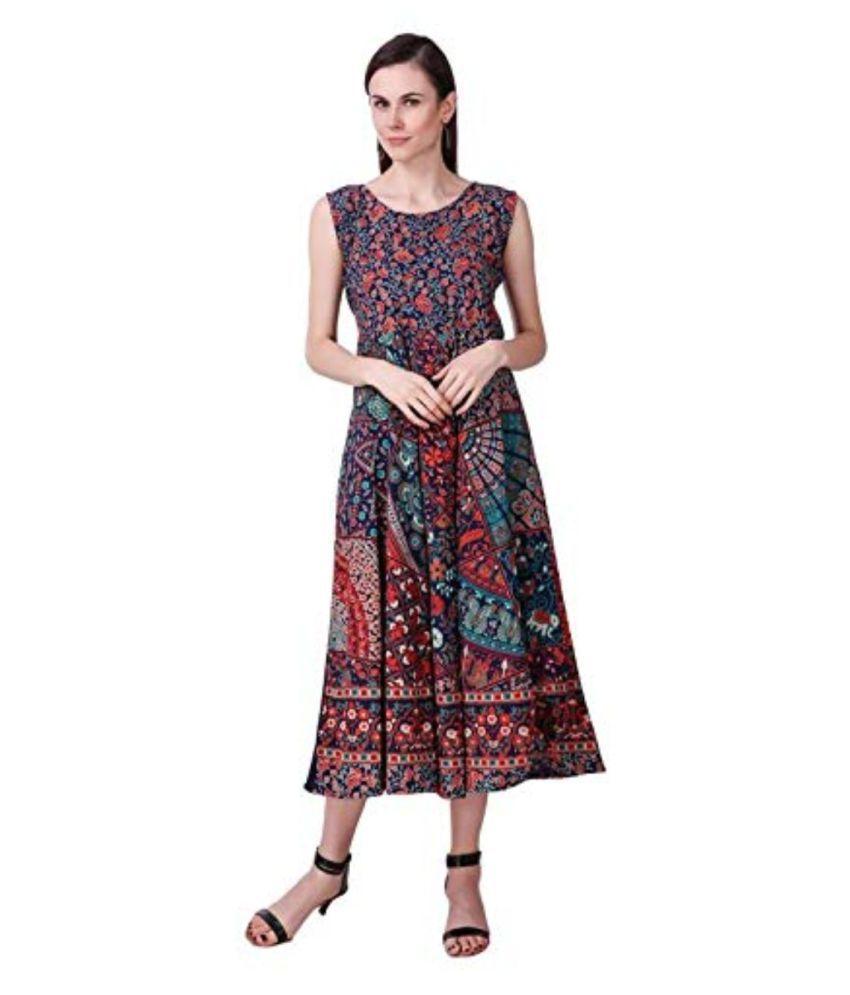 Rangun Cotton Multi Color Regular Dress