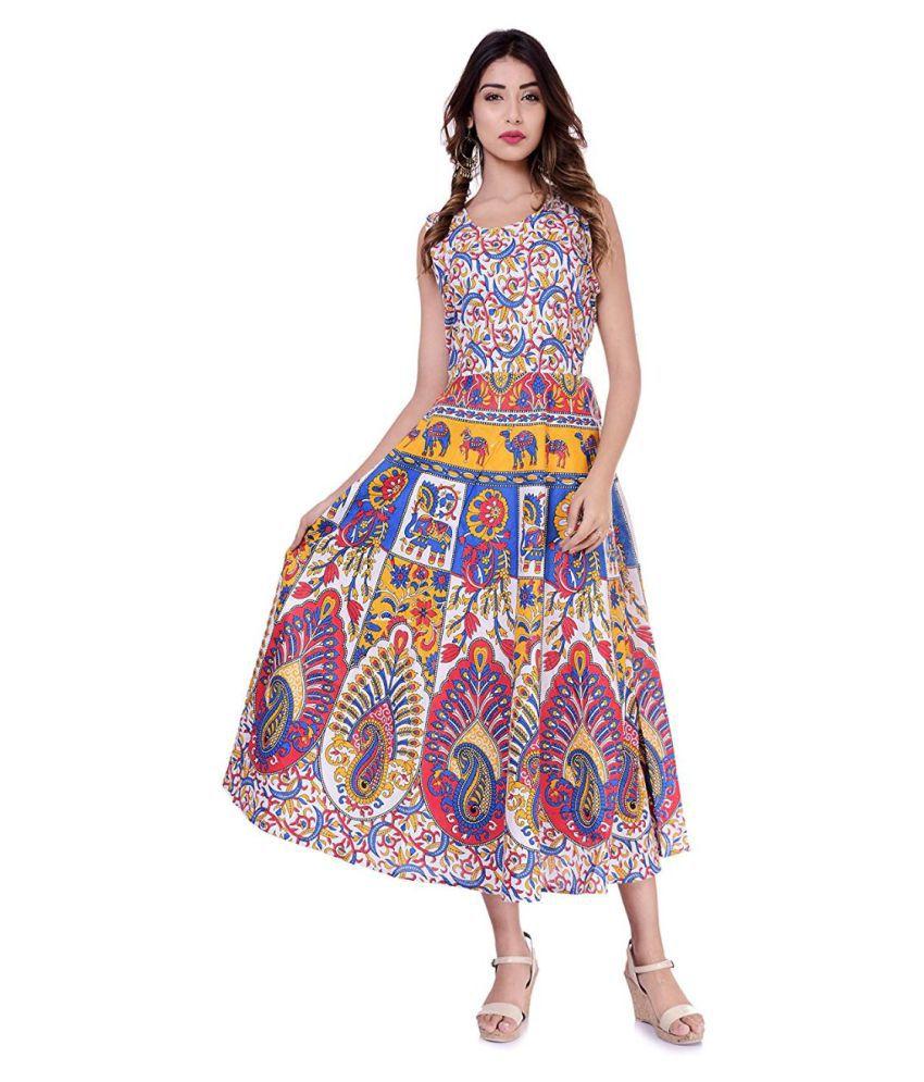 Rangun Cotton Yellow Regular Dress