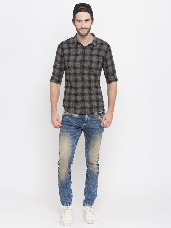 Spykar 100 Percent Cotton Black Checks Shirt