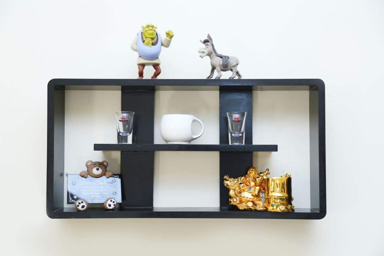 HOUZIE Solo Piece Storage Cube Rectangle MDF Floating Wall Shelf (Black) with Middle Shelf