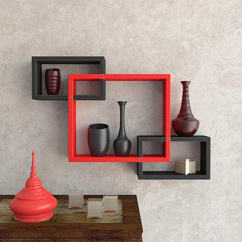 HOUZIE Wood Wall Shelf Rack Ntersecting Shelves (Red and Brown) - Set of 3