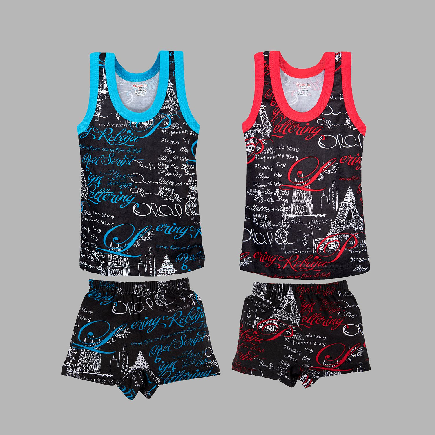 Care in Cotton Procian Print Sleeveless Sando Vest and Short Set for Infants and Kids - Blue and Red Color ( Pack of 2)