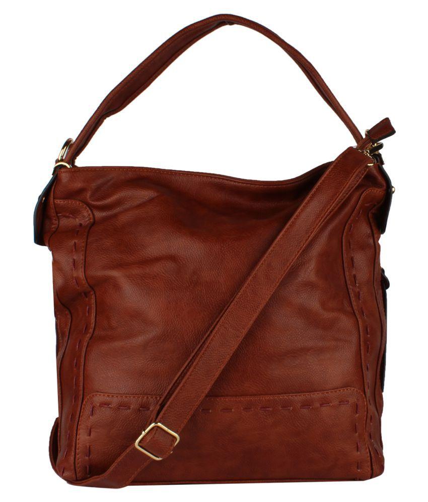 Olive n Peach Tan P.U. Shoulder Bag