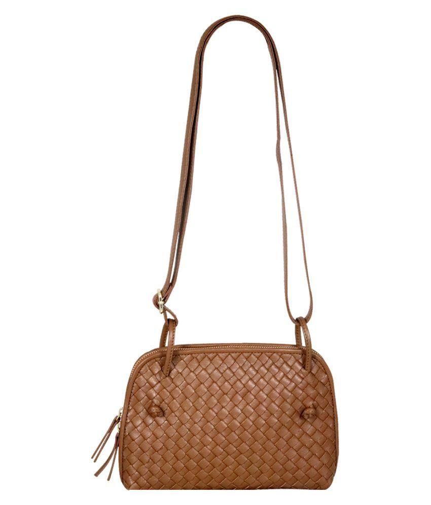 La Roma Tan Pure Leather Sling Bag