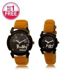 Analogue Round Black Dial Watch - Buy 1 Get 1 Free