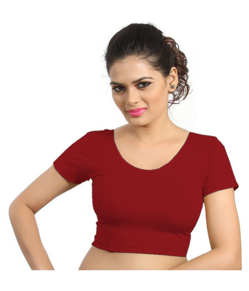 Atulya Designer Blouse Red Lycra Readymade without Pad Blouse