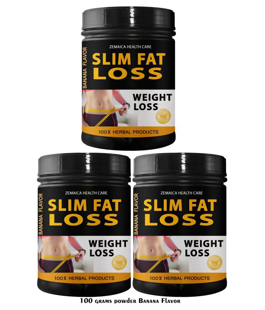 Zemaica Healthcare Slim Fat Loss Banana Flavor Powder 300 gm Pack of 3