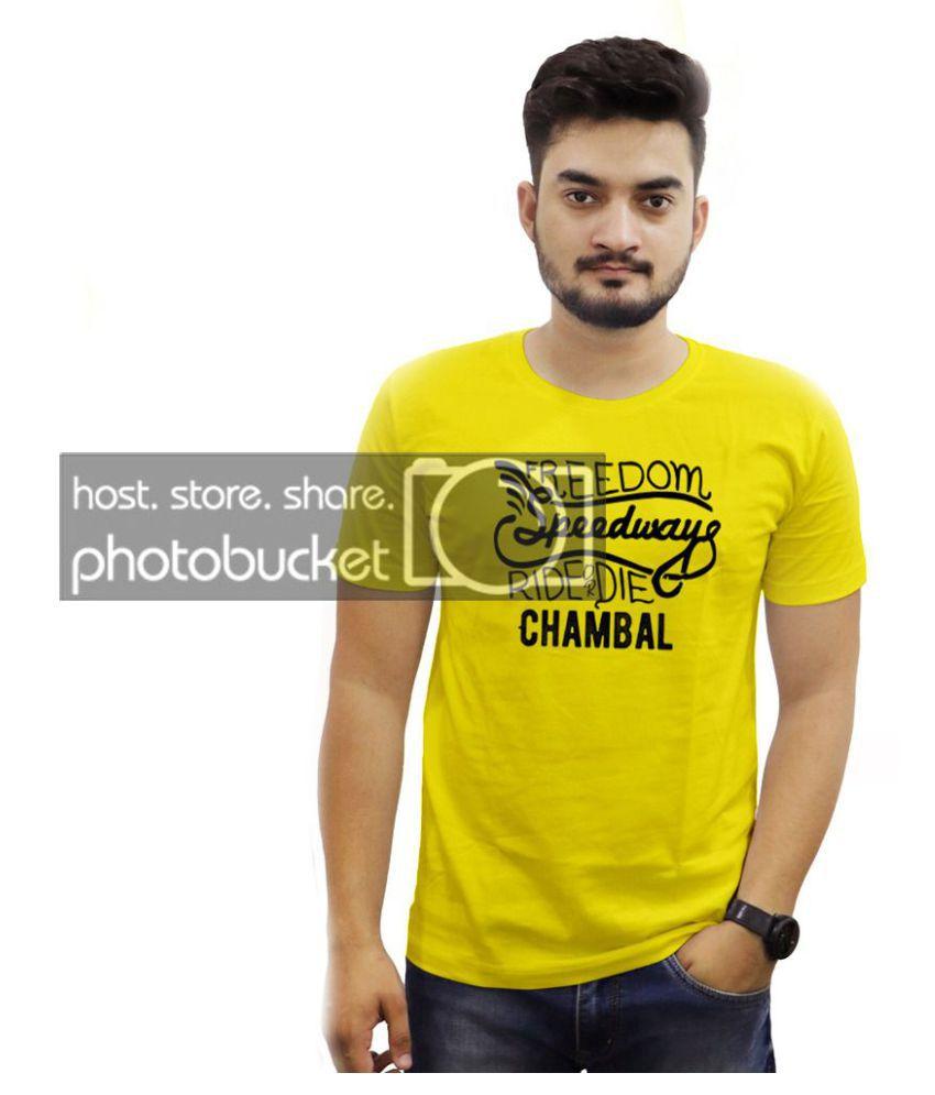 THE CHAMBAL 100 Percent Cotton Yellow Printed T-Shirt