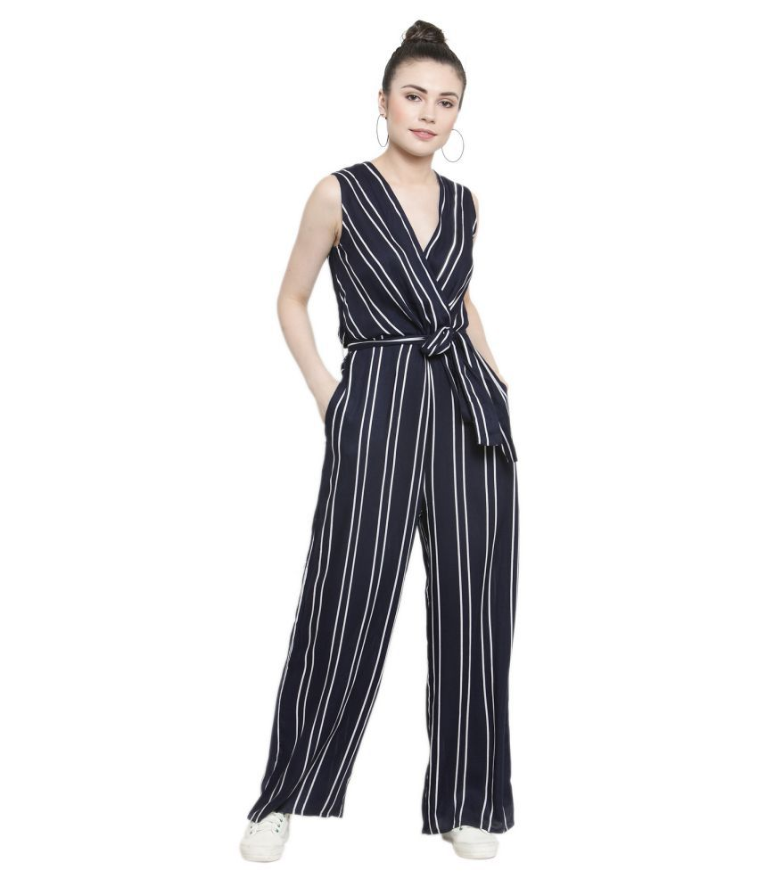Color Cocktail Navy Rayon Jumpsuit