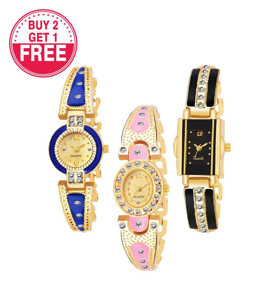 Fresh Fashion Multi Colored Multi Shaped Dial Combo Watch - for Girls & Women Buy 2 Get 1 Free