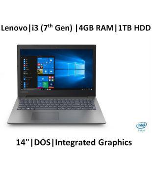 Lenovo Ideapad 330  i3 7020U /4  GB RAM/1 TB HDD/ 35.56cm  14 inch HD /DOS/No ODD   Onyx Black 2.2 Kg