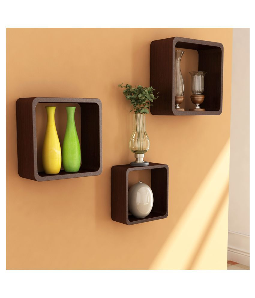 Home Sparkle MDF Set of 3 Cube Shelves For Wall Décor -Suitable For Living Room/Bed Room (Designed By Craftsman)