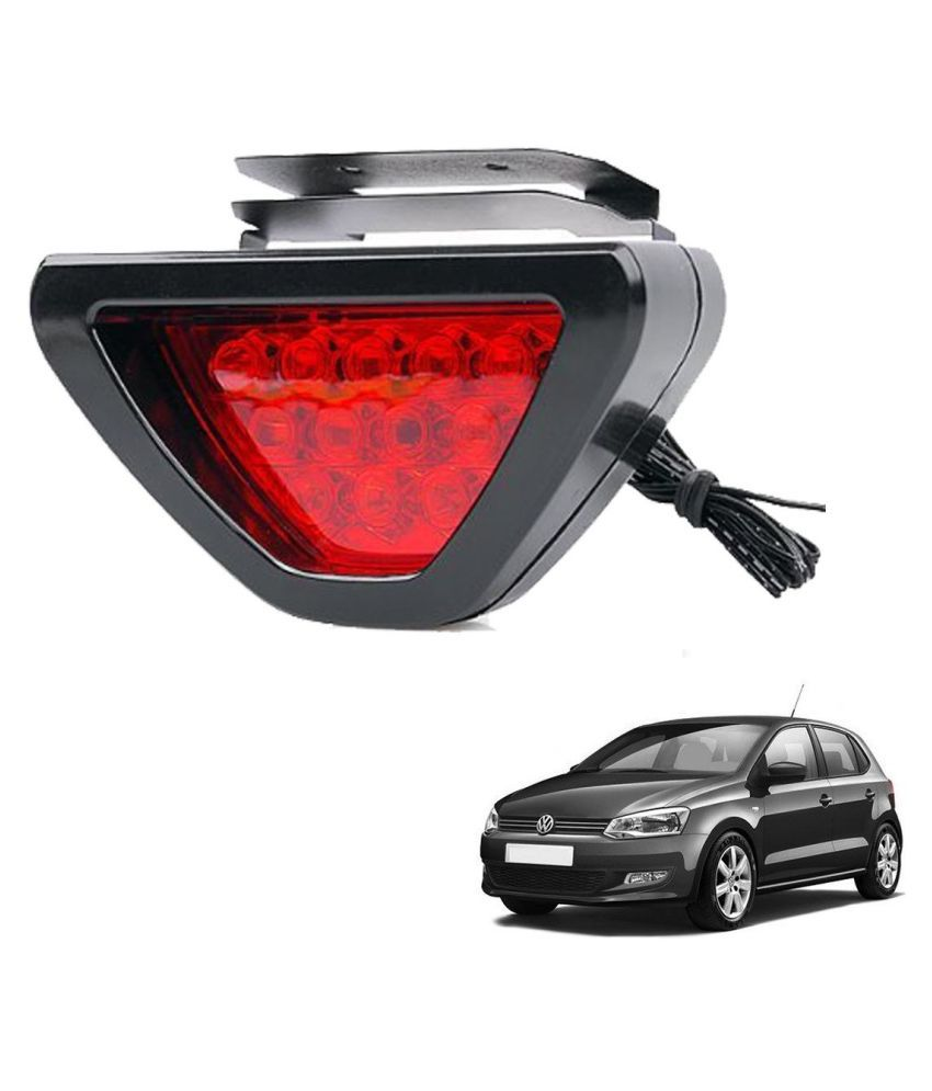 Auto Addict Car Triangle Shape 12 LED Red Color Brake Light with Flash Mode For Volkswagen Polo