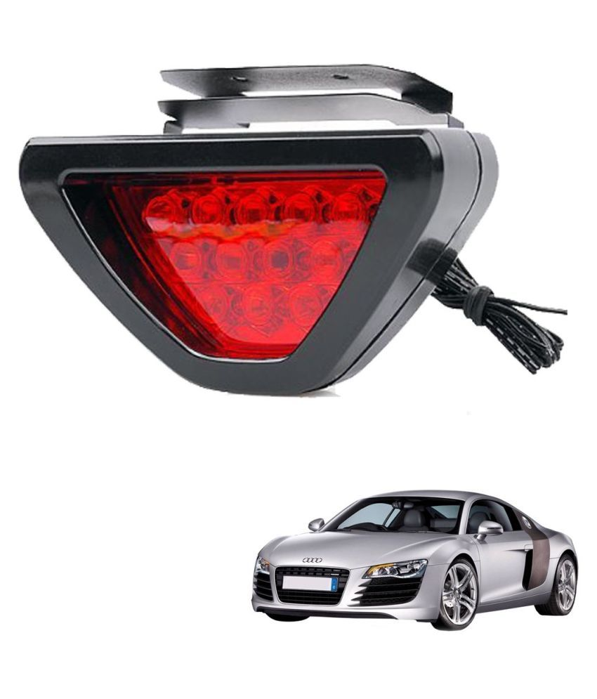 Auto Addict Car Triangle Shape 12 LED Red Color Brake Light with Flash Mode For Audi R8